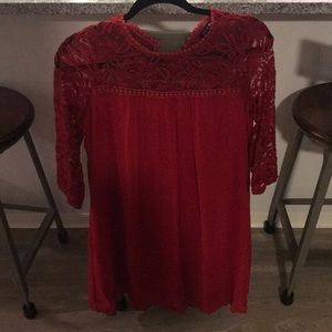 Red mid length sleeved dress